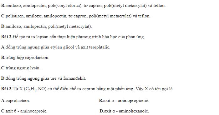 60 câu lý thuyết trọng tâm về polime (cơ bản)