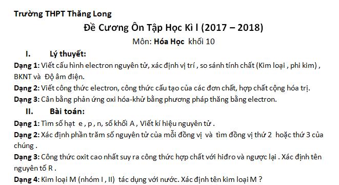 Đề cương ôn tập Hóa học 10 HKI năm 2017 - THPT Thăng Long