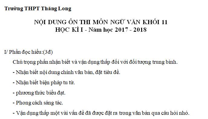 Đề cương ôn học kì 1 lớp 11 môn Văn 2017 - THPT Thăng Long