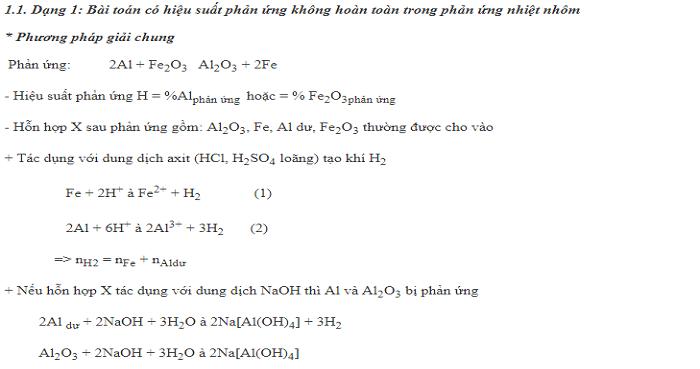 Bài toán phản ứng nhiệt nhôm
