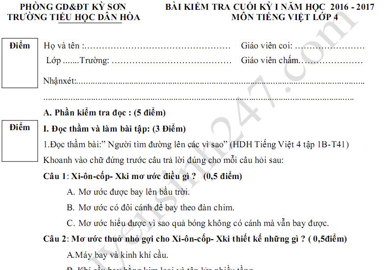 Đề thi học kì 1 năm 2017 lớp 4 môn Tiếng Việt - TH Dân Hòa