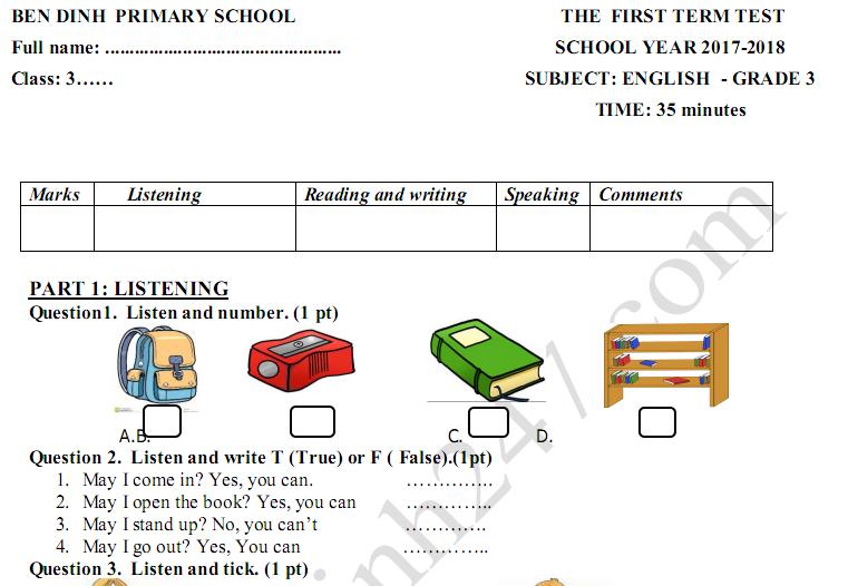 Đề thi học kì 1 lớp 3 môn Tiếng Anh - TH Bến Đình 2017