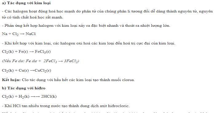 Lý thuyết Clo (Có bài tập áp dụng)