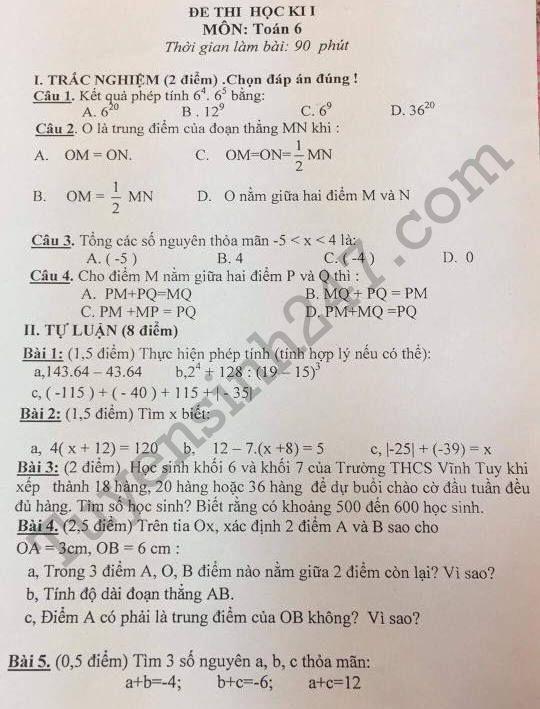 Đề thi học kì 1 lớp 6 môn Toán 2017 - 2018 - THCS Vĩnh Tuy