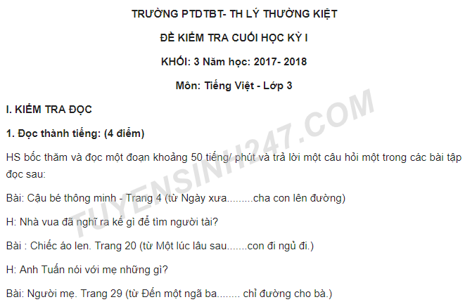 Đề kiểm tra kì 1 lớp 3 môn Tiếng Việt năm 2017 - TH Lý Thường Kiệt