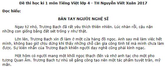 Đề thi kì 1 năm 2017 môn Tiếng Việt lớp 4  - TH Nguyễn Viết Xuân