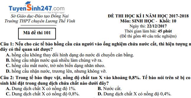 Đề thi hết học kỳ I môn Sinh học 10 -  Trường THPT Chuyên Lương Thế Vinh - Đồng Nai (có đáp án)