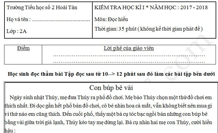 Đề thi cuối kì 1 năm 2017 lớp 2 môn Tiếng Việt - TH Hoài Tân