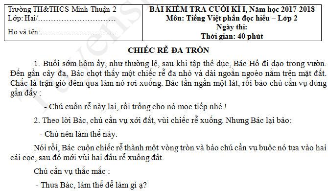 Đề thi kì 1 lớp 2 môn Tiếng Việt năm 2017 -  Minh Thuận
