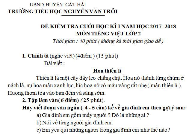 Đề thi kì 1 lớp 2 môn Tiếng Việt - TH Nguyễn Văn Trỗi năm 2017 - 2018