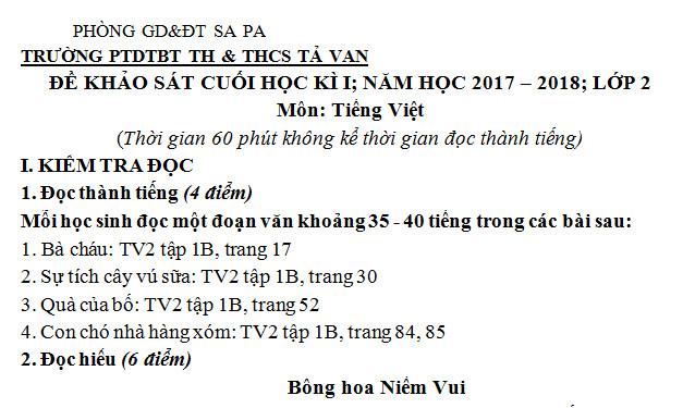 Đề thi kì 1 lớp 2 môn Tiếng Việt - trường TH Tả Van năm 2017 - 2018