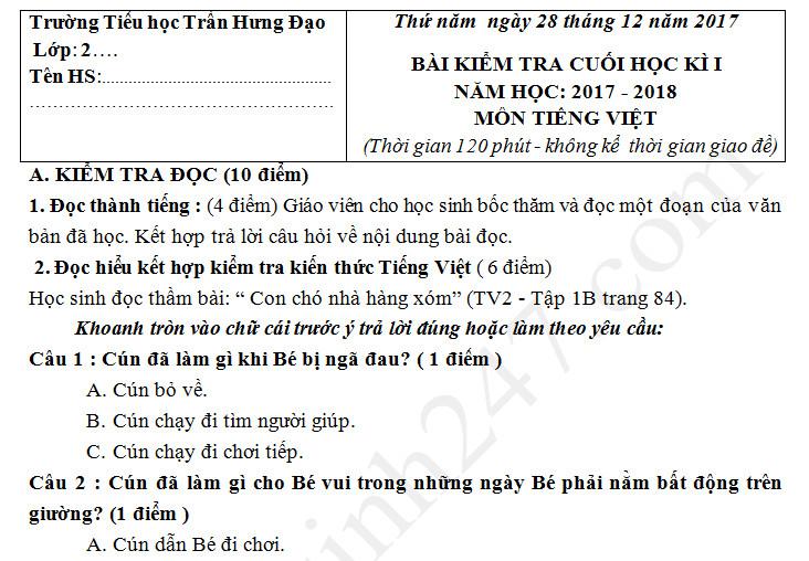 Đề kiểm tra kì 1 lớp 2 môn Tiếng Việt - TH Trần Hưng Đạo 2017 - 2018