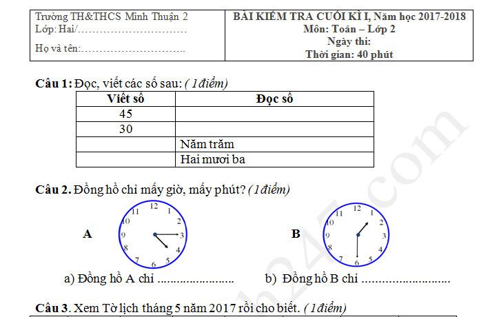 Đề thi kì 1 môn Toán lớp 2 TH Minh Thuận 2 năm 2017 - 2018