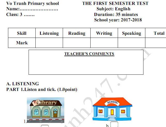 Đề kiểm tra học kì 1 lớp 3 môn Anh TH Vô Tranh 2017 - 2018