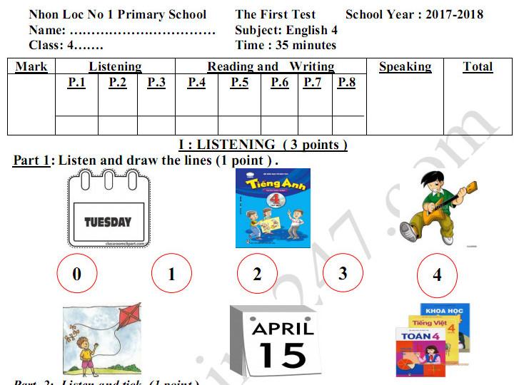 Đề thi kì 1 lớp 4 môn tiếng Anh TH Số 1 Nhơn Lộc 2017 - 2018