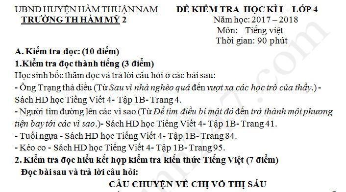 Đề thi học kì 1 năm 2017 - 2018  môn Tiếng Việt lớp 4 TH Hàm Mỹ 2