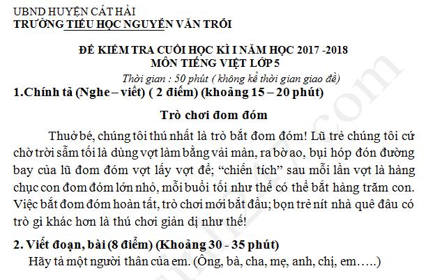 Đề thi học kì 1 năm 2017 - 2018 lớp 5 môn Tiếng Việt TH Nguyễn Văn Trỗi