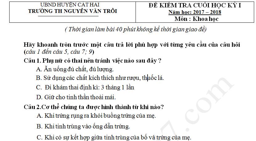 Đề kiểm tra học kì 1 lớp 5 môn Khoa học TH Nguyễn Văn Trỗi 2017 - 2018
