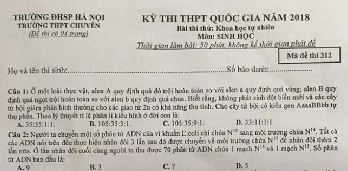 Đề thi thử THPT QG môn Sinh - THPT Chuyên ĐH Sư Phạm Hà Nội lần 1 - có đáp án