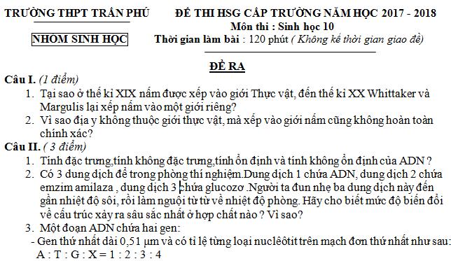 Đề thi HSG môn Sinh lớp 10 - THPT Trần Phú - năm học 2017 - 2018 - có hướng dẫn giải chi tiết