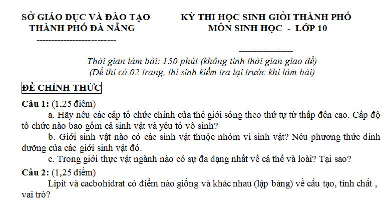 Đề thi HSG môn Sinh lớp 10 - TP Đà Nẵng  - có hướng dẫn giải chi tiết