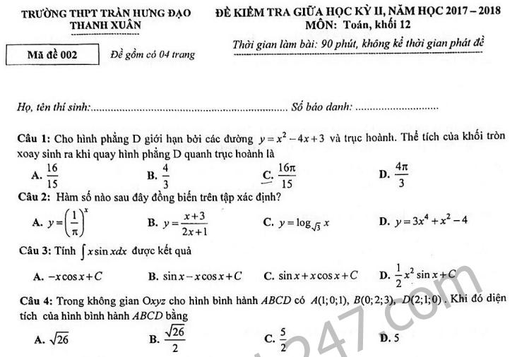 Đề thi giữa kì 2 lớp 12 môn Toán 2018 - THPT Trần Hưng Đạo