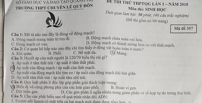 Đề thi thử THPT QG môn Sinh - THPT Chuyên Lê Qúy Đôn - Quảng Trị  lần 1 - Có đáp án