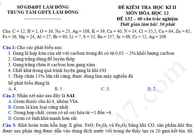 Đề kiểm tra cuối kì 2 lớp 12 môn Hóa - Lâm Đồng năm 2017