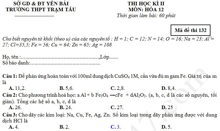 Đề thi học kì 2 năm 2017 môn Hóa lớp 12 THPT Trạm Tấu
