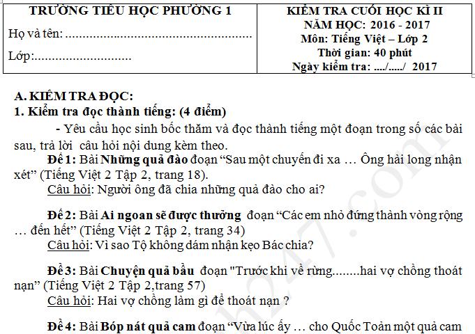 Đề thi cuối kì 2 lớp 2 môn Tiếng Việt 2017 TH Phường 1