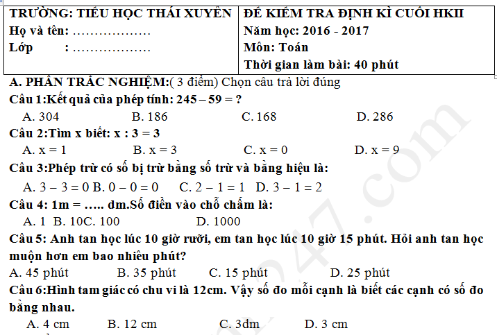 Đề thi kì 2 lớp 2 môn Tiếng Việt 2017 - TH Thái Xuyên