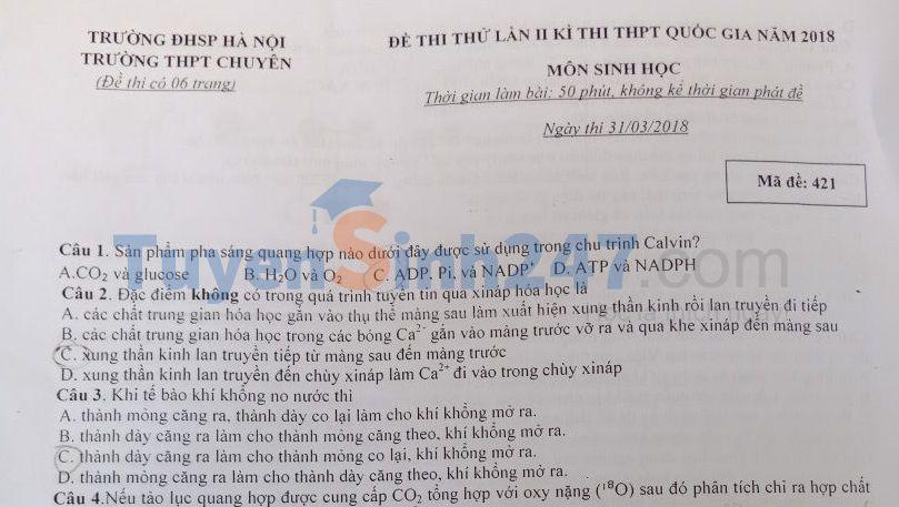 Đề thi thử THPT QG môn Sinh trường THPT Chuyên ĐH Sư phạm Hà Nội lần 2 năm 2018 (có đáp án)