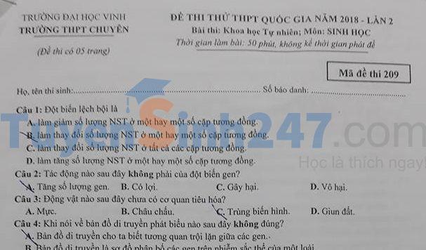 Đề thi thử THPT QG môn Sinh  trường THPT Chuyên ĐH Vinh - Nghệ An - lần 2 năm 2018