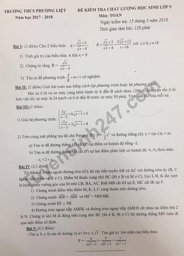 Đề thi thử vào lớp 10 môn Toán - THCS Phương Liệt năm 2018