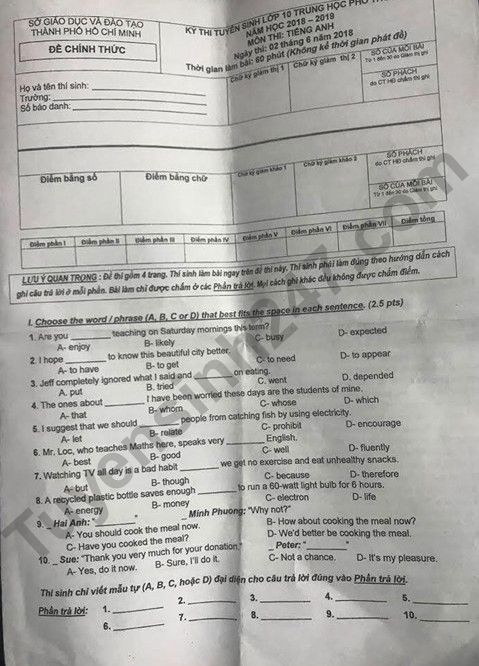 Đáp án đề thi tuyển sinh vào lớp 10 môn Anh TPHCM năm 2018