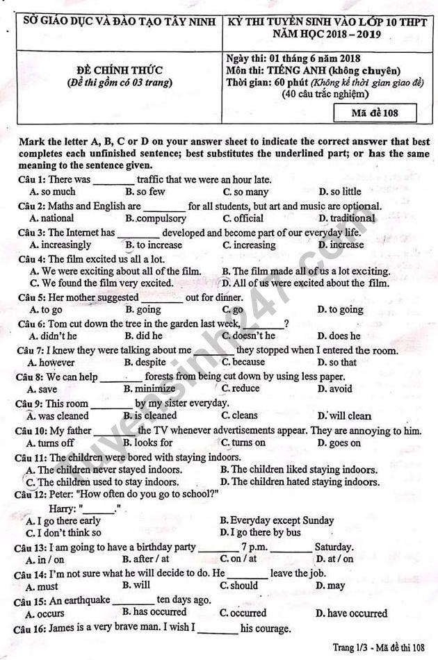 Đáp án đề thi vào lớp 10 môn Anh - Sở GD Tây Ninh năm 2018
