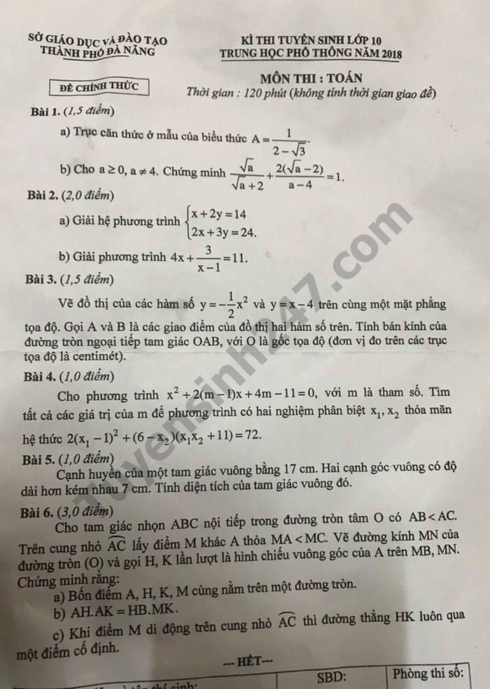 Đáp án đề thi tuyển sinh vào lớp 10 môn Toán TP.Đà Nẵng 2018