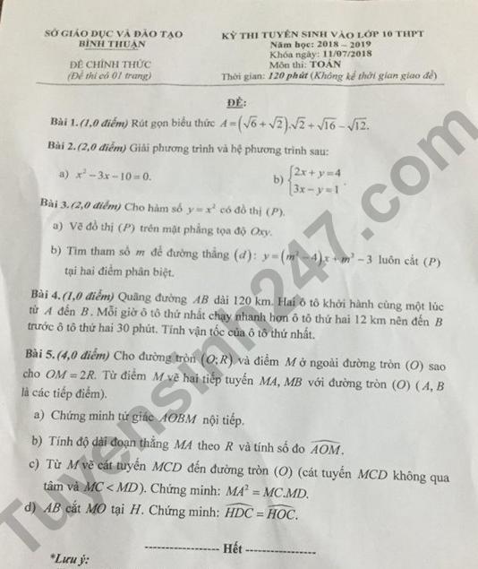 Đáp án đề thi vào lớp 10 môn Toán năm 2018 - tỉnh Bình Thuận