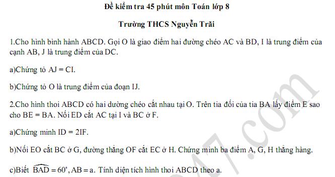 Đề kiểm tra 45 phút lớp 8 môn Toán Chương 1 Hình học - THCS Nguyễn Trãi