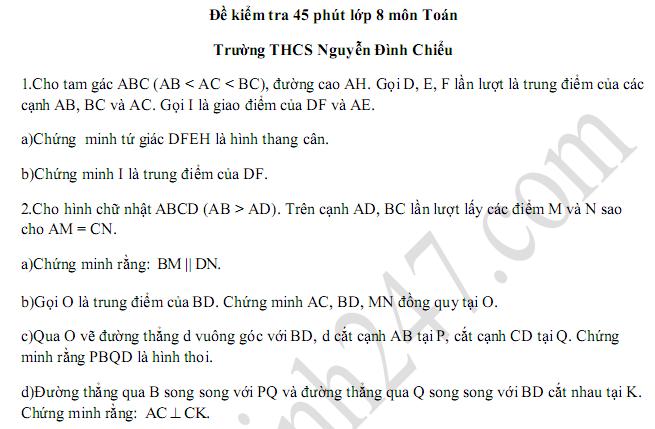 Đề kiểm tra 1 tiết lớp 8 môn Toán Chương 1 Hình học - THCS Nguyễn Đình Chiểu