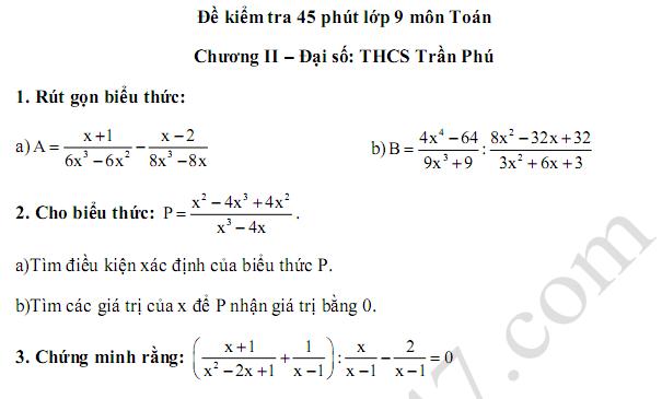 Đề kiểm tra 45 phút lớp 8 môn Toán Chương 2 Đại số - THCS Trần Phú