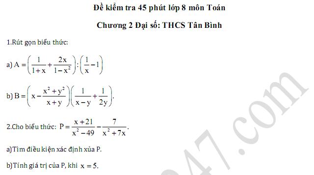 Đề kiểm tra 45 phút lớp 8 môn Toán Chương 2 Đại số - THCS Tân Bình