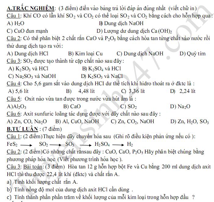 Đề kiểm tra 1 tiết lớp 9 môn Hóa Lần 1 - THCS Nguyễn Du