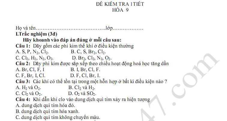 Đề kiểm tra 1 tiết lớp 9 môn Hóa - THCS Hoàng Diệu