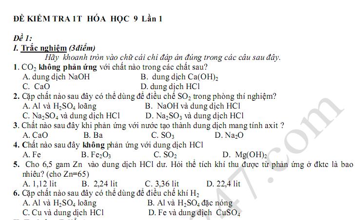 Đề kiểm tra 45 phút lớp 9 môn Hóa Lần 1 Chương 1