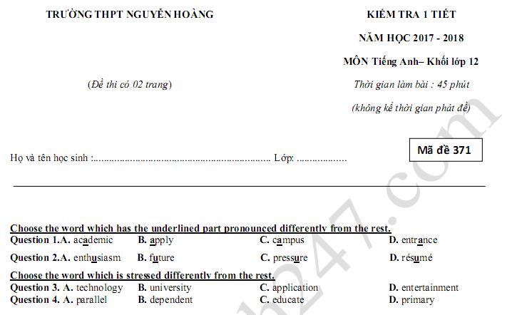 Đề kiểm tra giữa kì 1 lớp 12 môn Anh 2018 - THPT Nguyễn Hoàng