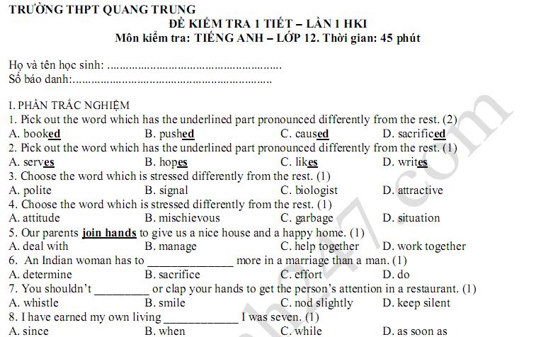 Đề thi giữa kì 1 lớp 12 môn Anh - THPT Quang Trung 2018