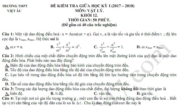 Đề thi 8 tuần kì 1 lớp 12 môn Lý 2018 - THPT Việt Âu