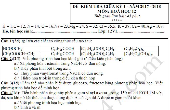 Đề thi giữa kì 1 môn Hóa lớp 12 - THPT Nguyễn Trãi 2018