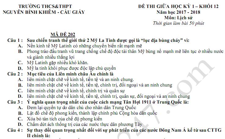 Đề thi 8 tuần kì 1 lớp 12 môn Sử 2018 - THPT Nguyễn Bỉnh Khiêm